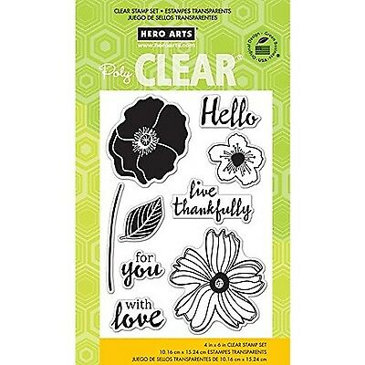 Hero Arts Hello Flowers Clear Stamp Set New