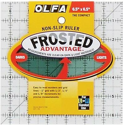 Olfa 1071798 QR-6S 6-1/2-Inch Square Frosted Advantage Acrylic Ruler New