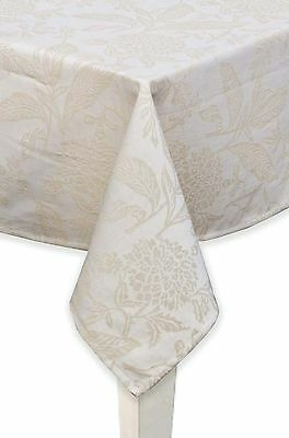 Mahogany Botanical Rectangle Jacquard Tablecloth 60 by 90-Inch Beige New