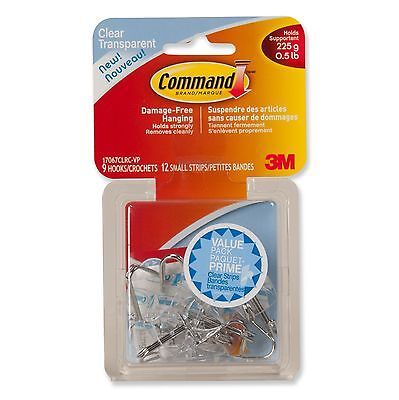 Command Small Clear Utensil Hook Value Pack 0.5 lb Capacity 9 Hooks 12 Sm... New