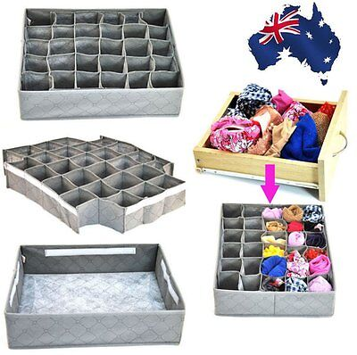 30 Cell Bamboo Charcoal Underwear Ties Socks Drawer Closet Organizer Storage Box