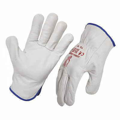 (12 Pack) Extra Large Leather Riggers Glove, Garden Glove, Riggers Glove, XL