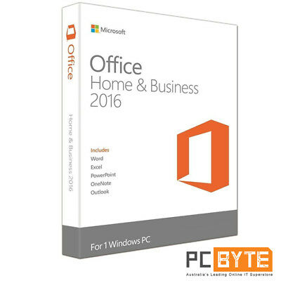 Microsoft Office Home & and Business 2016 Word Excel Outlook Retail 1 PC