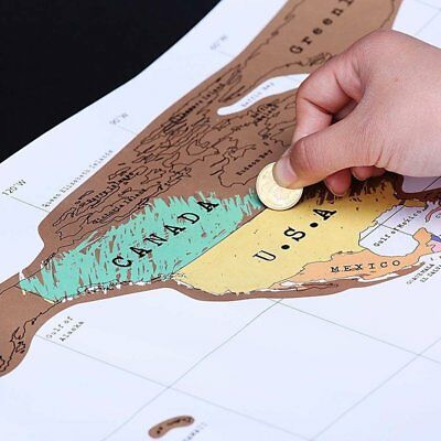 Deluxe Travel Scratch Off World Map Poster Personalized Journal Log Gift New IB9