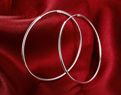 925 Sterling Silver Plated women fashion jewelry beautiful Hoop earrings 60MM
