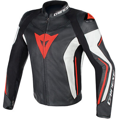 Dainese Assen Leather Motorcycle Motorbike Jacket - Black / White / Fluo Red
