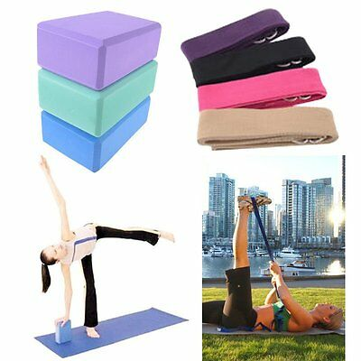 Yoga Mat + Stretch Strap Training Belt + Yoga Block  Foam Excrise Fitness Tool~A