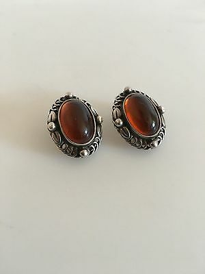 Georg Jensen Sterling Silver Annual Earclips with amber from 1995