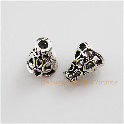 20 New Charms Tibetan Silver Tone Hollow Speaker End Bead Caps 7.5x9mm