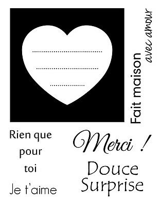 Lot 7 Tampons Transparent Clear Stamp Je T'aime Merci Douce Surprise Cadre Coeur