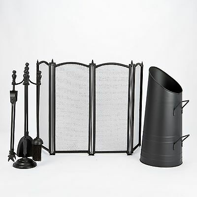 Crafters Black Fire Screen Coal Bucket Brush Poker tongs Shovel Fire Tools