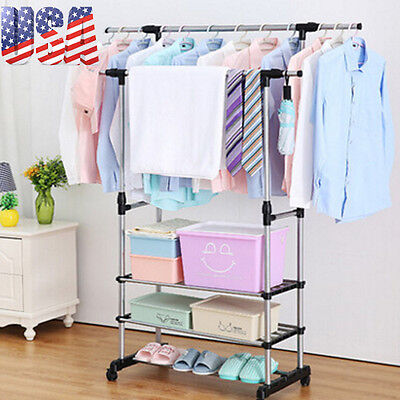 Heavy Duty Collapsible Adjustable Clothing Rolling Double Garment Rack w/ shelf