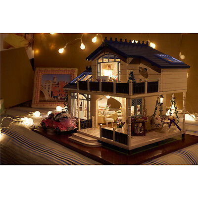 Wooden Dollhouse Miniatures DIY House Kit Led Light Music Large Villa Xmas Gift