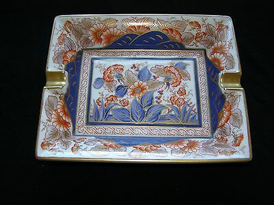 Limoges artist painted cigar ashtray – blue, gold and rust