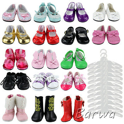 17 Pcs 5 Lovely  Shoes + 12 Pcs Hangers Set  for 18 Inch American Girl Doll Gift