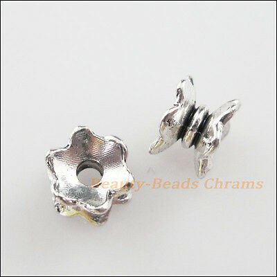 25 New Charms Tibetan Silver Tone Flower Spacer Beads End Caps 5x7mm