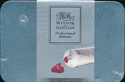 Winsor and Newton Professional Acrylic NEW 6 tubes 20 ml. tin case