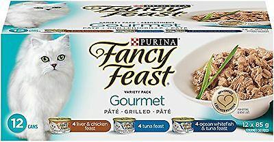 Purina Fancy Feast Gourmet Entre Variety Pack Wet Cat Food 85gm Tins (Pac... New