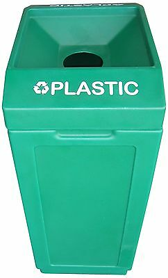 "Forte Products 8001839 Open Top Recycle Bin with Plastic Graphic 14.5"" L ... New"
