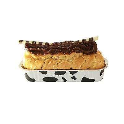 Restaurantware 100 Count Foil Baking Loaf Pan with Lid Cow Lines 6.75-Oun... New