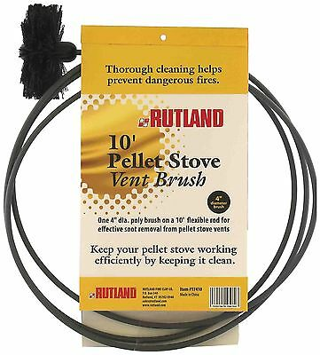 Rutland 3-Inch Pellet Stove/Dryer Vent Brush with 10-Feet Handle New