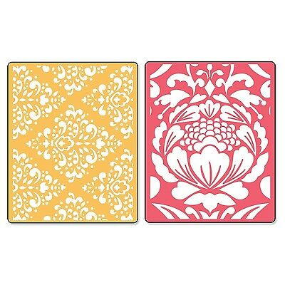 Sizzix Textured Impressions Embossing Folders Baroque and Flowertopia Set... New