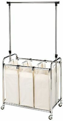 Seville Classics WEB153 3-Bag Laundry Sorter with Hanging Bar New