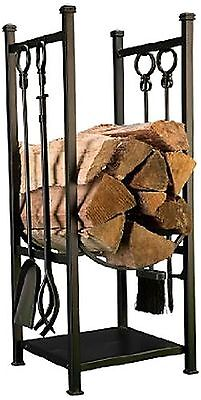 Panacea 15234 Log Bin and Fireplace Tool Set with 4 Tools Black New