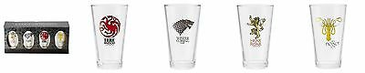 Game of Thrones 4 Pack Pint Glass Set [Stark Targaryen Lannister & Greyjoy] New