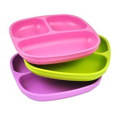 Re-Play Divided Plates Purple/Green/Bright Pink Pack of 3 New
