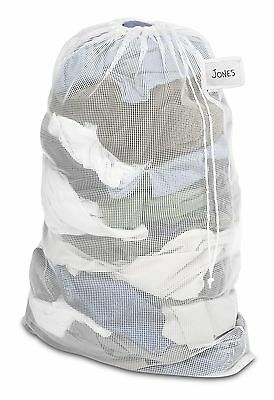 Whitmor 6154-2115 Mesh Laundry Bag with ID Tag White New