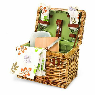 Picnic Time Napa Basket with Wine and Cheese Service for Two Botanica New