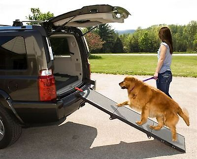 Pet Gear Tri-Fold Pet Ramp for Cats and Dogs up to 200-Pounds Grey Black ... New