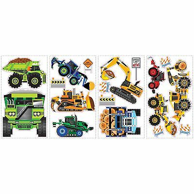 RoomMates SPD0003SCS Construction Vehicles Peel and Stick Wall Decals 1-P... New