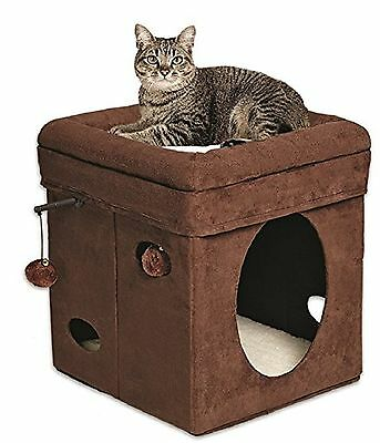 Midwest Home For Pets Curious Cat Cube Brown Suede New