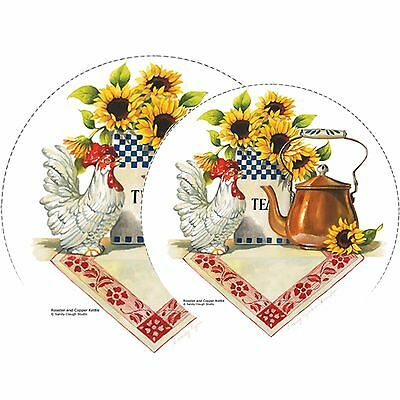 Reston Lloyd Rooster and Copper Kettle Burner Cover S Set of 4 New
