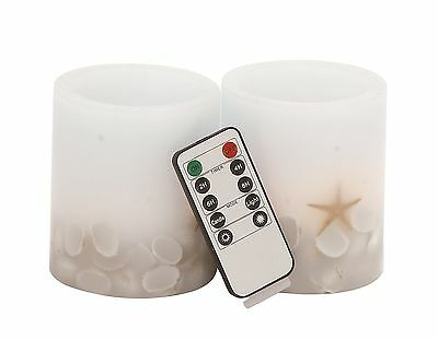 Deco 79 Led Flameless Candle Remote 3.5 by 4-Inch Brown Set of 2 New