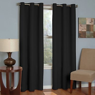 Eclipse 42-Inch by 63-Inch Microfiber Grommet Blackout Window Panel Black New