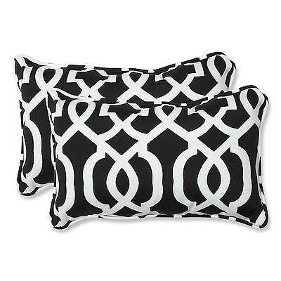 Pillow Perfect Outdoor New Geo Rectangular Throw Pillow Black/White Set o... New