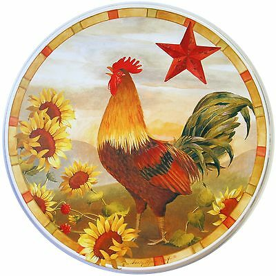 Reston Lloyd Corelle Coordinates Burner Cover Morning Rooster Set of 4 New
