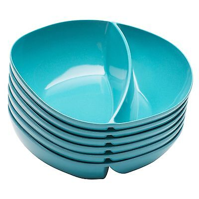 Zak Designs Moso Divided Bowl 7.5-Inch Azure Set of 6 New