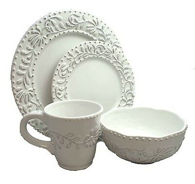 American Atelier Bianca Leaf 16-Piece Round Dinnerware Set Antique White New