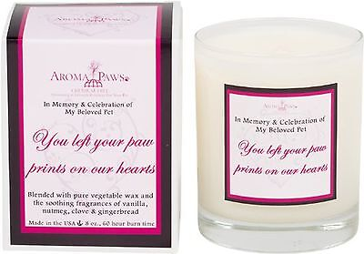 Aroma Paws Memorial Candle 8-Ounce Burgundy Heart New