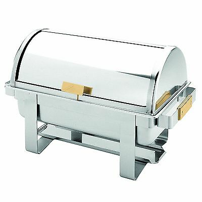 Excellante Stainless Steel 8-Quart Roll Top/Golden Handle Chafer New