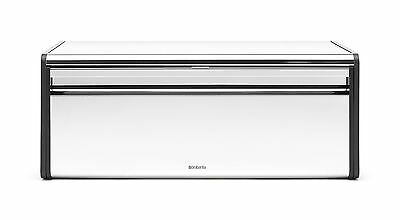 Brabantia Fall Front Bread Box - Brilliant Steel with Black Sides 163463 New