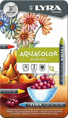 LYRA Aquacolor Water-Soluble Wax Crayons Set of 12 Crayons Assorted Color... New