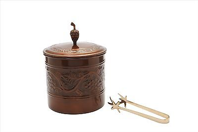 Old Dutch 2.5 Quart Antique Embossed Lined Ice Bucket with Brass Tongs New