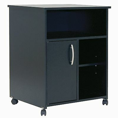 South Shore Fiesta Microwave Cart with Storage on Wheels Pure Black New