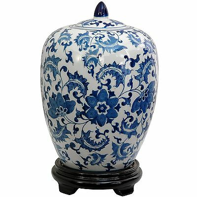 Oriental Furniture Classic Asian Spice Jar 12-Inch Chinese Blue and White... New