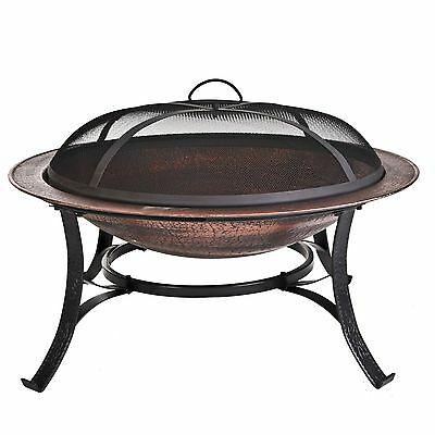 CobraCo 30 inch Round Cast Iron Copper Finish Fire Pit with Screen and Co... New